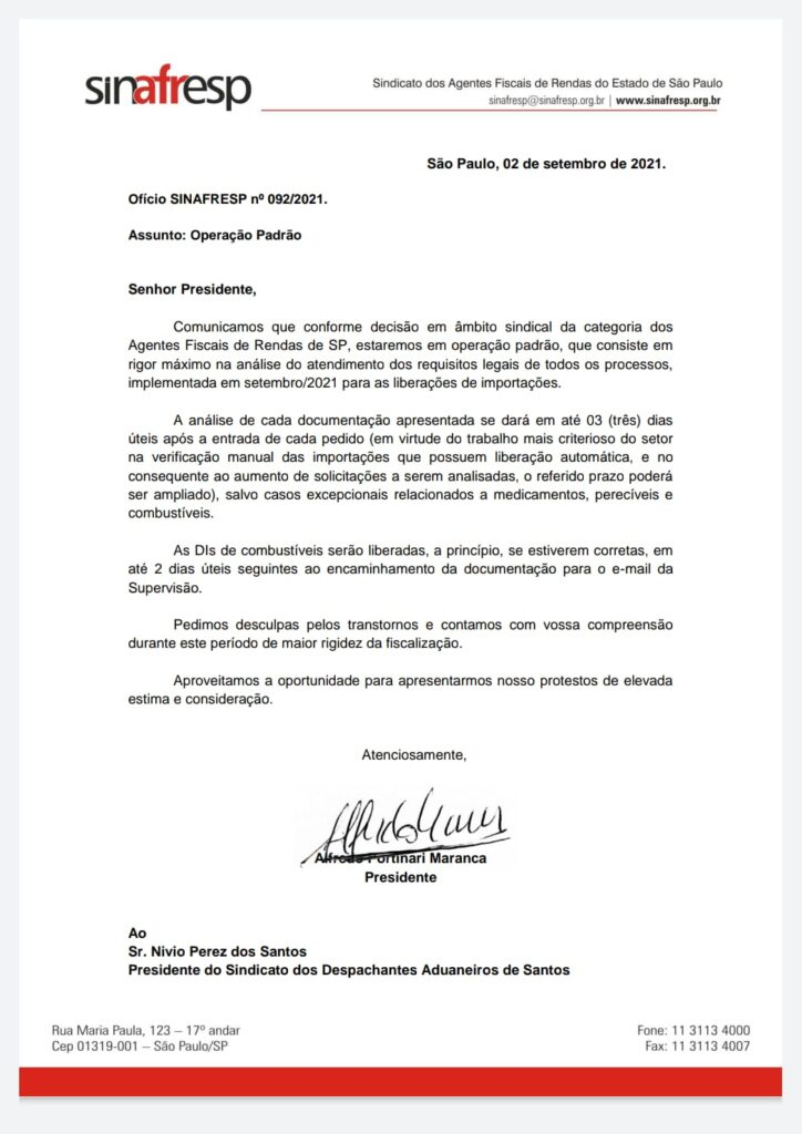 Operação Padrão dos Fiscais de Renda de São Paulo
